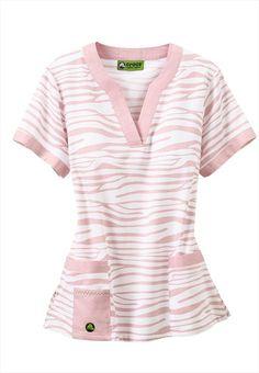 Crocs Zebra Pastel notched v-neck scrub top. Like the Lilac