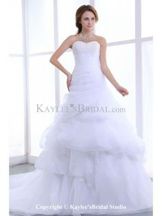 Organza Sweetheart Chapel Train A-Line Wedding Dress with Embroidered Ruffle