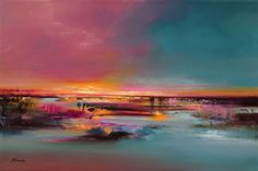 Buy The Pier - 60 x 90 cm abstract landscape oil painting in soft pink and turquoise, Oil painting by Beata Belanszky Demko on Artfinder. Discover thousands of other original paintings, prints, sculptures and photography from independent artists.