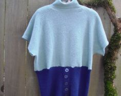 Classy Retro Upcycled Wool Sweater/ Eco Turtleneck Sweater Womens Tops Blue