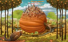 Jacek Yerka Paintings -dream world 3 -surreal painting World Oil, Jan Van Eyck, Surrealism Painting, Pop Surrealism, Illusion Art, Surreal Art, Mind Blown, Illusions, Fantasy Art