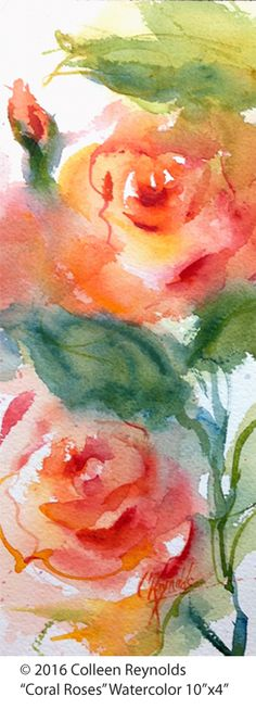Another Coral Rose - different format, Watercolor Rose, Watercolour Painting, Painting & Drawing, Watercolors, Watercolor Pictures, Fabric Painting, Painting Inspiration, Flower Art, Canvas Art