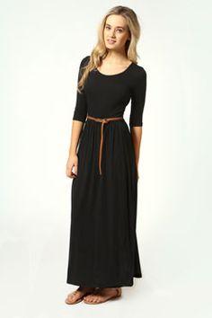 Sophia Scoop Neck Elasticated Waist Maxi Dress #Boohoo