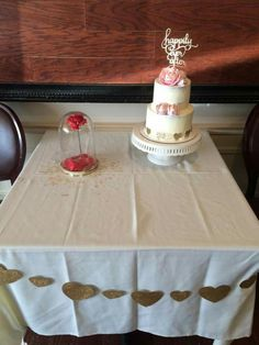 Happily Ever After cake with gum paste peonies. Bridal shower cake