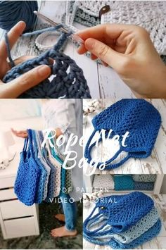 Crochet Rope, Crochet Stitches, Knit Crochet, Crochet Hats, Sewing Patterns, Crochet Patterns, Beginner Crochet Projects, Net Bag, Crochet Videos