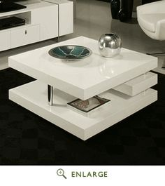 The viceroy coffee table, with its very modern and unique design, will add style and elegance to your living area. This by rectangular coffee table comes in glossy white wood with chrome design.