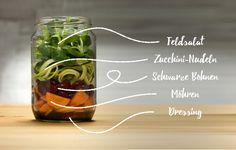 Salat im Glas: Der perfekte Snack für unterwegs. In diesem Glas befindet sich ein Balsamico-Dressing, Möhren, schwarze Bohnen, Zucchini-Nudeln und Feldsalat. Lust auf mehr? Dann schau auf unserem nu3 Blog vorbei!