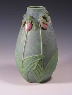 "Jemerick Art Pottery's Lady Slipper Pot - Steve Frederick and Cherie Jemsek. A pottery studio dedicated to the continuing tradition of the Arts & Crafts Movement. 11.5""H - $425"