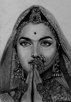 Deepika Padukone as Padmavati Pencil Sketch Portrait, Pencil Sketch Drawing, Girl Drawing Sketches, Portrait Sketches, Pencil Art Drawings, Drawing Portraits, Modern Art Paintings, Indian Paintings, Art Beat