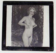 1920s Erotic Glass B & W Transparency Photograph Pretty Nude Blonde Model Rare