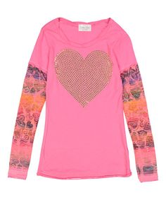 Another great find on #zulily! Hot Pink Hearts Long-Sleeve Tee - Kids & Tween #zulilyfinds