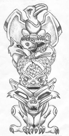 sketches of aztec totem poles - Google Search