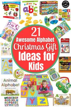 The best Christmas and birthday gifts for toddlers and preschoolers who are learning the alphabet! How to teach your kids their ABCs through play and interaction with these top gift ideas. A great resource for parents looking for gift ideas that are educational for their children. Parent Gifts, Teacher Gifts, Animal Alphabet, Abc Alphabet, Christmas Gifts For Kids, Christmas Ideas, Non Toy Gifts, Easy Drawings For Kids, Alphabet Stamps