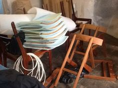 Re-upholstery is the agenda for today. France and son teak chairs and 6 rosewood chairs by johannes andersen.