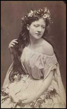 ca. 1864, Kate Terry as Ophelia in Hamlet at the Lyceum Theatre photographed by Adolphe Beau