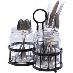 TableCraft Four-Piece Meranda Mason Jar Cutlery Holder Set ($20) ❤ liked on Polyvore featuring home, kitchen & dining and tablecraft