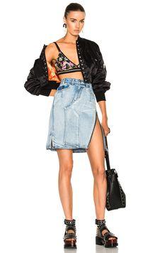 3.1 PHILLIP LIM Asymmetrical Denim Pencil Skirt W/ Zipper, Indigo