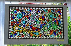 I made this by adding glass flat back marbles to an old recycled window. Just glued them onto the original window. Stained Glass Projects, Stained Glass Patterns, Stained Glass Art, Mosaic Projects, Diy Projects, Mosaic Ideas, Mosaic Crafts, Project Ideas, Flat Marble Crafts