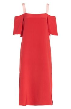 Topshop Boutique Off the Shoulder Silk Midi Dress available at #Nordstrom