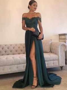 Off-the-Shoulder Prom Dress with Appliques, Dark Green Formal Dress with High Split #prom #prom2k18
