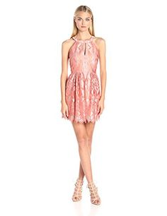 BCBGMax Azria Women's Megyn Halter Cocktail Dress, Bright Coral Combo, 8 * Click image to review more details.