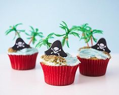 Pirate Cupcake Picks Kit  12 Pirate Hat Topper Rings 12 Palm Tree Novelties 32 Red Baking Cups * Click affiliate link Amazon.com on image for more details.
