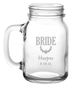'Bride' Personalized Mason Jar #zulily #zulilyfinds