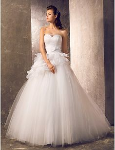 Wedding Dress A Line Sweep Brush Train Tulle Sweetheart Bridal Gown With Ruffles – USD $ 169.99