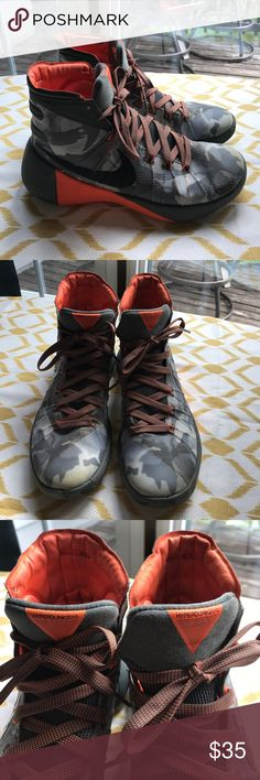 Men's Nike hyperdunk 2015 camo sneakers size 8 Men's Nike hyperdunk 2015 camo sneakers- orange, gray, black. Sneakers are a men's size 8, overall good condition but do show signs of use- dirt marks, wearing on both inner soles (can be replaced). Nike Shoes Sneakers