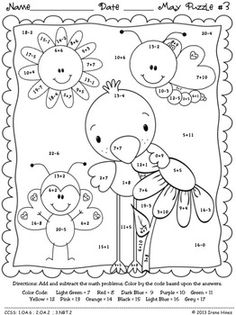 "May: Math ""May""hem ~ Spring Math Printables Color By Codes Puzzles Math Coloring Worksheets, Kids Math Worksheets, 1st Grade Worksheets, Maths Puzzles, 1st Grade Math, Math Games, Math Activities, Camping Activities, Color By Numbers"