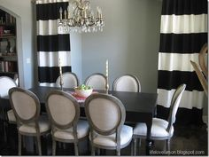 DIY No-Sew Black and White Striped Curtains