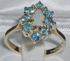 9ct Gold Vibrant Fiery Opal & Blue Topaz Cluster Ring - Yellow ...