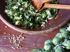 Kale and Brussels Sprout Salad recipe from Nancy Fuller via Food Network
