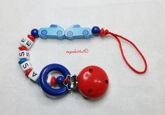 Schnullerkette Autos Wunschname Ring Baby md321 von myduttel auf DaWanda.com