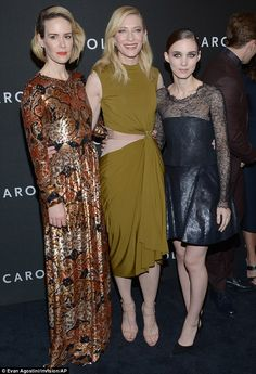 Beautiful cast: Cate and Rooney cuddled up to their co-star Sarah Paulson on the red carpe...