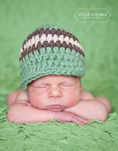 HALF OFF Today ONLY...0 to 3 Month Baby Hat, Crochet Striped Visor Beanie Baby Hat - Olive Green, Brown, Khaki Photo Prop Baby Boy Baby Hat. $10.50, via Etsy.