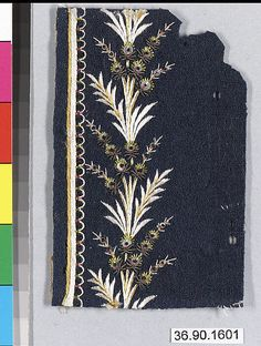 Sample Date: early 19th century Culture: French Medium: Silk and metal thread on felt Dimensions: L. 4 3/8 x W. 2 3/4 inches 11.1 x 7 cm Classification: Textiles-Embroidered Credit Line: Gift of The United Piece Dye Works, 1936