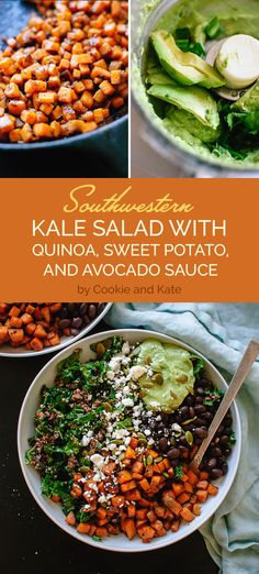 Southwestern Kale Salad with Quinoa, Sweet Potato, and Avocado Sauce