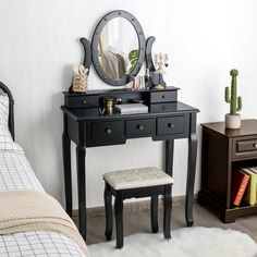 It is in classic white color, which makes it look compact. It can be a fine display of your room. This dressing table set has a oval mirror with 12 LED bulbs, offering enough soft, warm lights without giving out heat to illuminate skin tones and colors accurately, which gives you control over every detail of your hair and makeup whether in the day or night. Besides, the mirror can be move out, you can use it as an ordinary writing or laptop table.