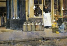 Flower Store and Dairy Store, 1888 - Childe Hassam - WikiArt.org