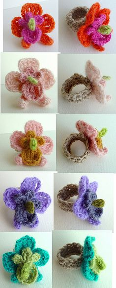 Crochet Orchid Flower Rings 1 by meekssandygirl, via Flickr