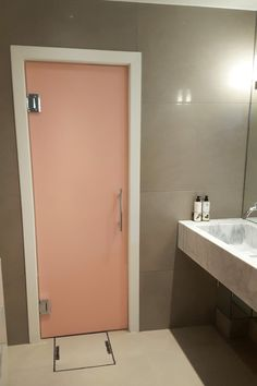 A bespoke pink painted frameless glass entrance door created by Room for the female washroom at the luxury Dog \u0026 Badger bar and restaurant in Marlow. & Colourful painted glass washroom entrance door and toilet cubicles ... Pezcame.Com