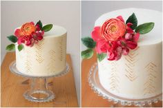Love the painting/printing in gold.  It adds a demure interest to the cake that is almost neutral in nature.  The flowers still take centre stage.