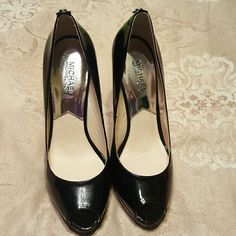 Authentic Michael Kors Shoes Black patent leather in used condition please look at pic where some marks on the heel  5 inch heels MICHAEL Michael Kors Shoes Heels