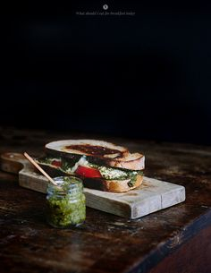 Hot sandwich with pesto, tomato and mozzarella