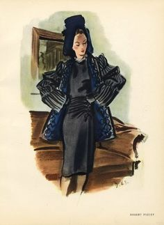 Robert Piguet 1943 Delfau Fashion Illustration