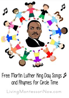 Free Martin Luther King Day Songs and Rhymes for Circle Time - Montessori ideas and activities for Martin Luther King Day; Martin Luther King Day activities for c - Mlk Jr Day, Martin Luther Jr, Preschool Songs, Preschool Kindergarten, Preschool Ideas, Preschool Lessons, Thing 1, Circle Time, Elementary Music