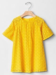 Eyelet bell-sleeve shift dress