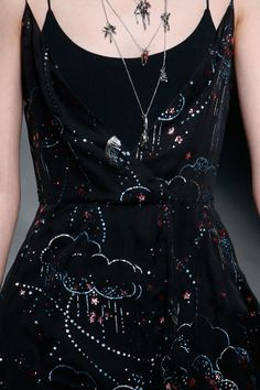 Close Up - Black strappy dress with blue clouds and pink stars - Valentino Details AW16...x