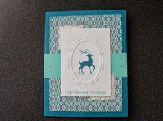 Christmas Greetings #stampin' up! #designer frames oval #season of style designer paper #reindeer #glitter #glimmer #silver #rhinestones #holiday
